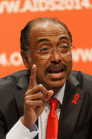 Michel Sidibé, UNAIDS Executive Director, speaks at a press conference prior to the opening session of the 20th International AIDS Conference (AIDS 2014) at the Melbourne Convention and Exhibition Centre.<br /> For licensing of this image please go to http://demotix.com