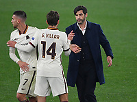 Football: Europa League - quarter final 2nd leg AS Roma vs Ajax, Olympic Stadium. Rome, Italy, March 15, 2021.<br /> Roma's Paulo Fonseca (R) celebrates with his players Gonzalo Villar (C) and Lorenzo Pellegrini (L) at the end of the Europa League quarter final 2nd leg football match between Roma at Rome's Olympic stadium, Rome, on April 15, 2021.  <br /> UPDATE IMAGES PRESS/Isabella Bonotto