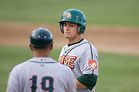 June 22, 2008: The Boise Hawks' Josh Vitters, the Chicago Cubs' #1 prospect according to Baseball America, stands on first base after singling to left field during a Northwest League game against the Everett AquaSox at Everett Memorial Stadium in Everett, Washington.