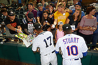 Scottsdale Scorpions Gleyber Torres (17), of the New York Yankees organization,and Champ Stuart (10), of the New York Mets organization, sign autographs before a game against the Salt River Rafters on October 12, 2016 at Scottsdale Stadium in Scottsdale, Arizona.  Salt River defeated Scottsdale 6-4.  (Mike Janes/Four Seam Images)