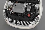 High angle engine detail of a 2010 Mercury Milan Hybrid.