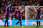 Andres Iniesta of FC Barcelona (C) gives a high five for his teammates before leaving the field during the La Liga match between Barcelona and Real Sociedad at Camp Nou on May 20, 2018 in Barcelona, Spain. Photo by Vicens Gimenez / Power Sport Images