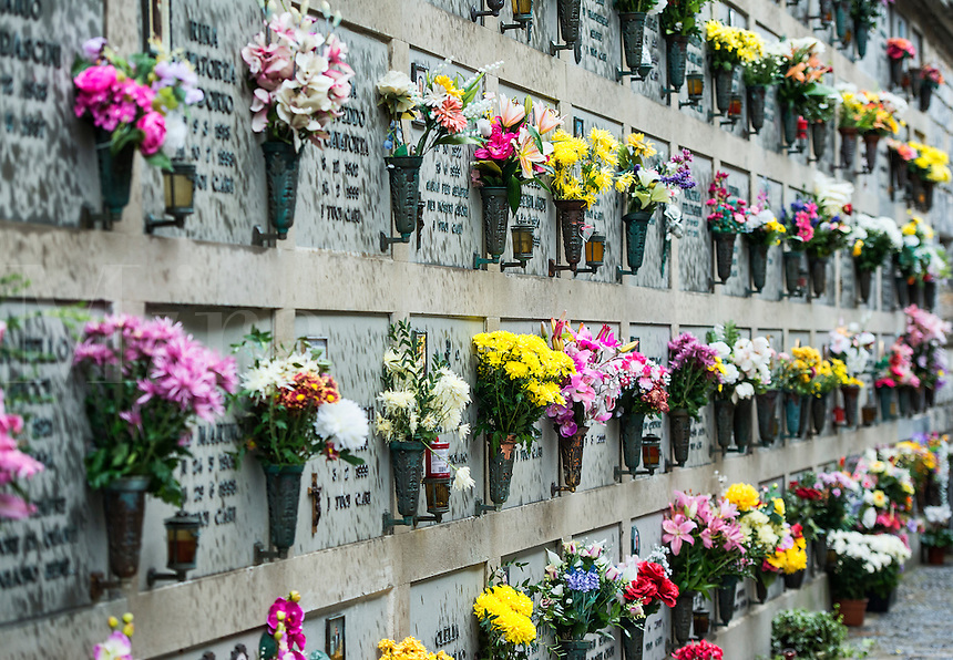 Fresh flowers adorn the burial vaults of the village cemetery, Porto Venere, Italy