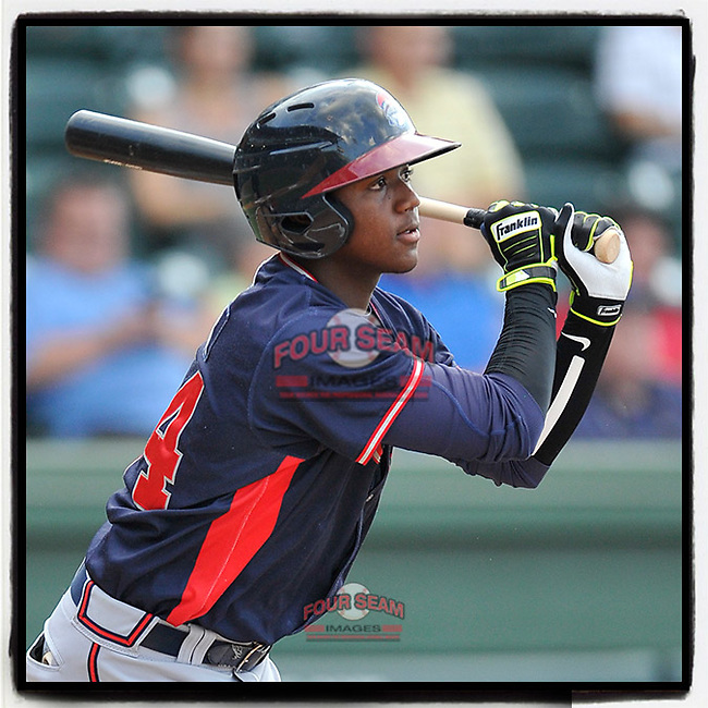 #OTD On This Day, August 30, 2016, Ronald Acuna Jr. of the Rome Braves got one hit in a game against the Greenville Drive at Fluor Field at the West End in Greenville, South Carolina. Greenville won, 7-3. Acuna has been a starter with Atlanta since 2018, when he was the National League's Rookie of the Year. In 2019 he was an All-Star, won the Silver Slugger and the Lou Brock Award and was All-MLB Second Team. This year he has played in 22 games for Atlanta and is batting .256. During the game in Greenville he used white tape to add the tilde above the n in his name on his jersey. He doesn't have to do that any more. (Tom Priddy/Four Seam Images) #MiLB #OnThisDay #MissingBaseball #nobaseball #stayathome #minorleagues #minorleaguebaseball #Baseball #SallyLeague #AloneTogether