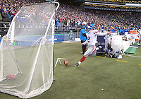 27 Nov 2005:   New York Giants kicker Jay Feeley warmed up during the fourth quarter against the Seattle Seahawks at Qwest Field in Seattle, Washington.