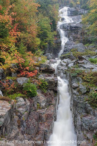 Silver Cascade in Hart's Location, New Hampshire on a rainy and foggy autumn day. This waterfall is roadside along Route 302 in Crawford Notch State Park.
