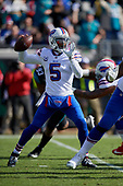 Buffalo Bills quarterback Tyrod Taylor (5) passes during an NFL Wild-Card football game against the Jacksonville Jaguars, Sunday, January 7, 2018, in Jacksonville, Fla.  (Mike Janes Photography)