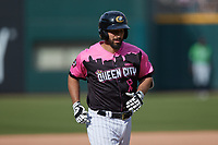 Seby Zavala (5) of the Charlotte Knights jogs towards home plate after hitting a home run against the Gwinnett Stripers at Truist Field on May 9, 2021 in Charlotte, North Carolina. (Brian Westerholt/Four Seam Images)