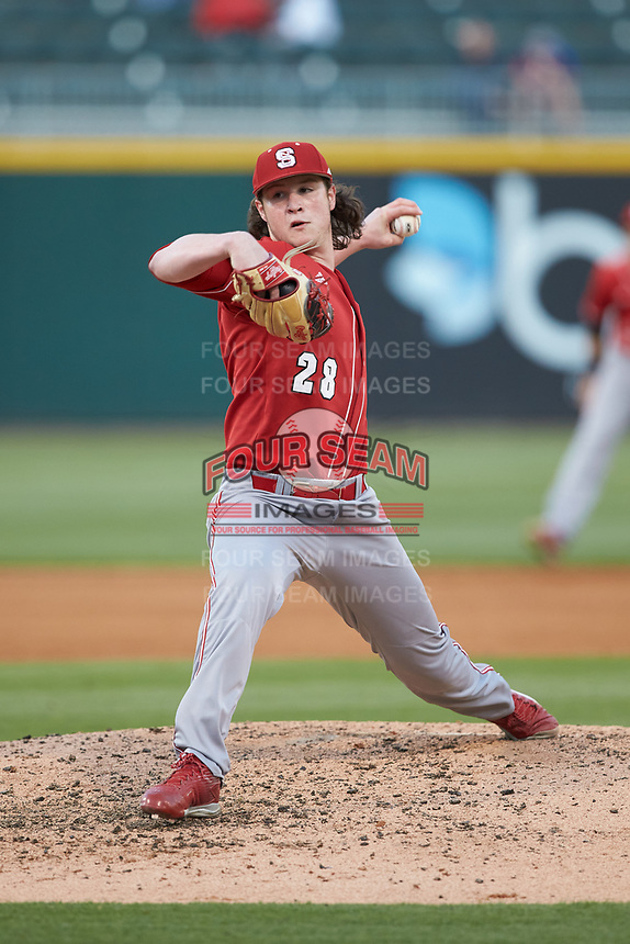 North Carolina State Wolfpack relief pitcher Ryan Williamson (28) in action against the Charlotte 49ers at BB&T Ballpark on March 29, 2016 in Charlotte, North Carolina. The Wolfpack defeated the 49ers 7-1.  (Brian Westerholt/Four Seam Images)
