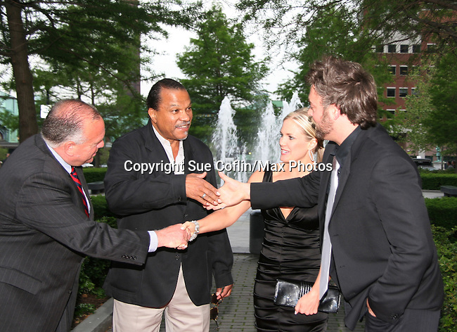 Billy Dee Williams with the mayor Hoboken & Terri & Artie Colombino at the Gala Awards Ceremony of the 2008 Hoboken International Film Festival which concluded  with Billy Dee Williams being presented the Lifetime Achievement Award and then nominees and winners were announced on June 5, 2008 at Pier A Park, Hoboken, New Jersey.  (Photo by Sue Coflin/Max Photos)