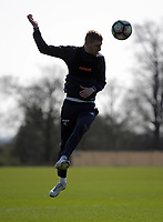 Pictured: Oliver McBurnie heads the ball from close range Friday 24 March 2017<br /> Re: Swansea City U23 training ahead of their International Cup game against Porto, Fairwood training ground, UK