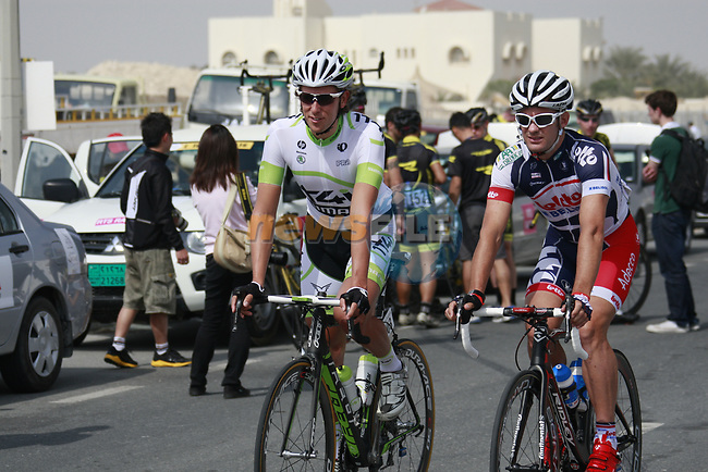 Koen De Kort (NED) Project IT4i and Gregory Henderson (NZL) Lotto-Belisol Team at the start of Stage 1 of the Tour of Qatar 2012 running 142.5km from Barzan Towers to Doha Golf Club, Doha, Qatar. 5th February 2012.<br /> (Photo by Eoin Clarke/NEWSFILE).