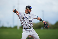 Peoria Javelinas third baseman Weston Wilson (18), of the Milwaukee Brewers organization, during an Arizona Fall League game against the Mesa Solar Sox at Sloan Park on October 11, 2018 in Mesa, Arizona. Mesa defeated Peoria 10-9. (Zachary Lucy/Four Seam Images)