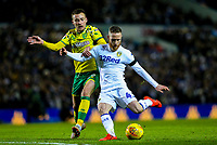 Leeds United's Adam Forshaw shoots at goal under pressure from Norwich City's Tom Trybull<br /> <br /> Photographer Alex Dodd/CameraSport<br /> <br /> The EFL Sky Bet Championship - Leeds United v Norwich City - Saturday 2nd February 2019 - Elland Road - Leeds<br /> <br /> World Copyright © 2019 CameraSport. All rights reserved. 43 Linden Ave. Countesthorpe. Leicester. England. LE8 5PG - Tel: +44 (0) 116 277 4147 - admin@camerasport.com - www.camerasport.com