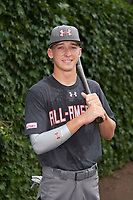 Drew Waters (1) of Etowah High School in Woodstock, Georgia poses for a photo before the Under Armour All-American Game presented by Baseball Factory on July 23, 2016 at Wrigley Field in Chicago, Illinois.  (Mike Janes/Four Seam Images)