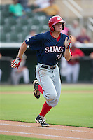Andrew Stevenson (35) of the Hagerstown Suns hustles down the first base line against the Kannapolis Intimidators at CMC-Northeast Stadium on August 16, 2015 in Kannapolis, North Carolina.  The Suns defeated the Intimidators 4-3 in game two of a double-header.  (Brian Westerholt/Four Seam Images)