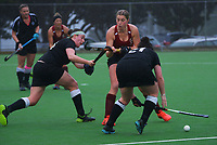 Action from the Wellington premier one women's hockey match between Hutt United and Karori at National Hockey Stadium in Wellington, New Zealand on Saturday, 26 June 2021. Photo: Dave Lintott / lintottphoto.co.nz