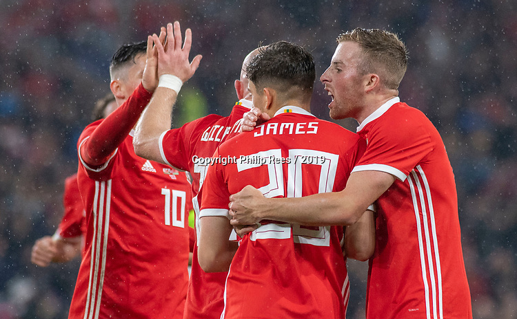 Cardiff - UK - 9th September :<br />Wales v Belarus Friendly match at Cardiff City Stadium.<br /> Daniel James of Wales is congratulated on his first half goal by Joe Morrell.<br />Editorial use only