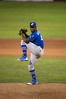 Ogden Raptors relief pitcher Yeison Cespedes (46) delivers a pitch during a Pioneer League game against the Orem Owlz at Home of the OWLZ on August 24, 2018 in Orem, Utah. The Ogden Raptors defeated the Orem Owlz by a score of 13-5. (Zachary Lucy/Four Seam Images)