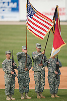 The National Guard presents the colors prior to the South Atlantic League game between the Columbus Catfish and the Kannapolis Intimidators at Fieldcrest Cannon Stadium in Kannapolis, NC, Sunday, July 22, 2007.