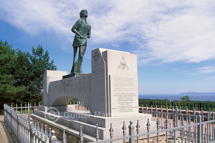 "Terry Fox Statue at ""Terry Fox Scenic Lookout"", along ""Terry Fox Courage Highway"" (Trans Canada Highway / Hwy 17), near Thunder Bay, ON, Ontario, Canada (Sculptor: Manfred Pirwitz, 1982) - overlooking Lake Superior"