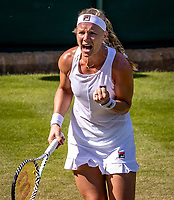 London, England, 4 July, 2019, Tennis,  Wimbledon, Kiki Bertens (NED) jubilation<br /> Photo: Henk Koster/tennisimages.com