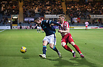 Dundee v St Johnstone…22.09.21  Dens Park.    Premier Sports Cup<br />Jordan Marshall holds off James Brown<br />Picture by Graeme Hart.<br />Copyright Perthshire Picture Agency<br />Tel: 01738 623350  Mobile: 07990 594431
