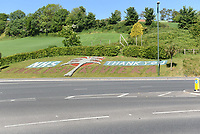 NHS 'Thank You' signage on a grass verge in Torquay during the COVID-19 pandemic and lockdown