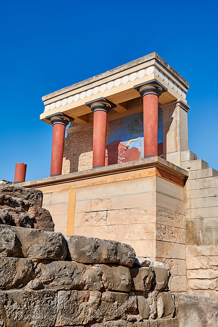 Minoan of the North Entrance Propylaeum with its painted charging  bull releif,  Knossos Palace archaeological site, Crete