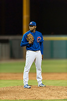 AZL Cubs 1 relief pitcher Riger Fernandez (47) looks in for the sign during an Arizona League game against the AZL Padres 1 at Sloan Park on July 5, 2018 in Mesa, Arizona. The AZL Cubs 1 defeated the AZL Padres 1 3-1. (Zachary Lucy/Four Seam Images)