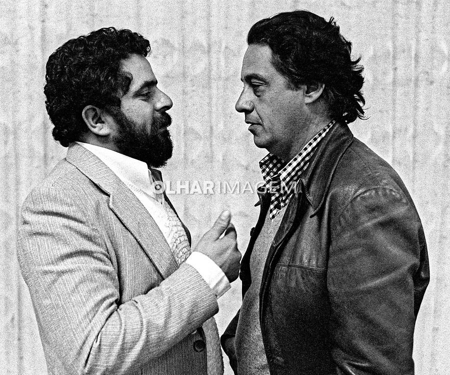 Luis Inacio Lula da Silva e Fernando Henrique Cardoso. Encontro de Oposiçoes. Sao Bernardo do Campo. Sao Paulo. 1980. Foto de Juca Martins.