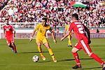 Chris Ikonomidis of Australia (L) in action during the AFC Asian Cup UAE 2019 Group B match between Palestine (PLE) and Australia (AUS) at Rashid Stadium on 11 January 2019 in Dubai, United Arab Emirates. Photo by Marcio Rodrigo Machado / Power Sport Images