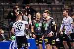 Zufrieden nach erster Halbzeit: Kai Haefner (Deutschland #25) ; Jannik Kohlbacher (Deutschland #48) ; EHF EURO-Qualifikation / EM-Qualifikation / Handball-Laenderspiel: Deutschland - Estland am 02.05.2021 in Stuttgart (PORSCHE Arena), Baden-Wuerttemberg, Deutschland.<br /> <br /> Foto © PIX-Sportfotos *** Foto ist honorarpflichtig! *** Auf Anfrage in hoeherer Qualitaet/Aufloesung. Belegexemplar erbeten. Veroeffentlichung ausschliesslich fuer journalistisch-publizistische Zwecke. For editorial use only.