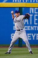 Scott Beerer (15) of the Tulsa Drillers throws a ball back to the infield during a game against the Springfield Cardinals on April 29, 2011 at Hammons Field in Springfield, Missouri.  Photo By David Welker/Four Seam Images.