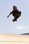 Skateboarder Brett Pogoda, 11, of Gilford, New Hampshire, skates at Camp Woodward in Woodward, Pennsylvania.  August 17, 2005.