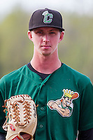 Clinton LumberKings pitcher Nick Wells (37) poses for a photo prior to a Midwest League game against the Wisconsin Timber Rattlers on May 9th, 2016 at Fox Cities Stadium in Appleton, Wisconsin.  Clinton defeated Wisconsin 6-3. (Brad Krause/Four Seam Images)