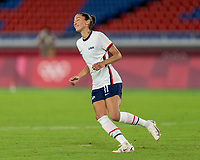 YOKOHAMA, JAPAN - JULY 30: Christen Press #11 of the USWNT celebrates her penalty kick during a game between Netherlands and USWNT at International Stadium Yokohama on July 30, 2021 in Yokohama, Japan.