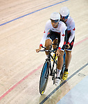 MILTON, ON, AUGUST 10, 2015. Cycling at the Velodrome. Canadians  Robbi Weldon & Audrey Lemieux (BW).<br /> Photo: Dan Galbraith/Canadian Paralympic Committee