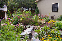 Bird and wildlife garden with pond waterfall, flowers, trees, shrubs for cover, next to house with birdhouse