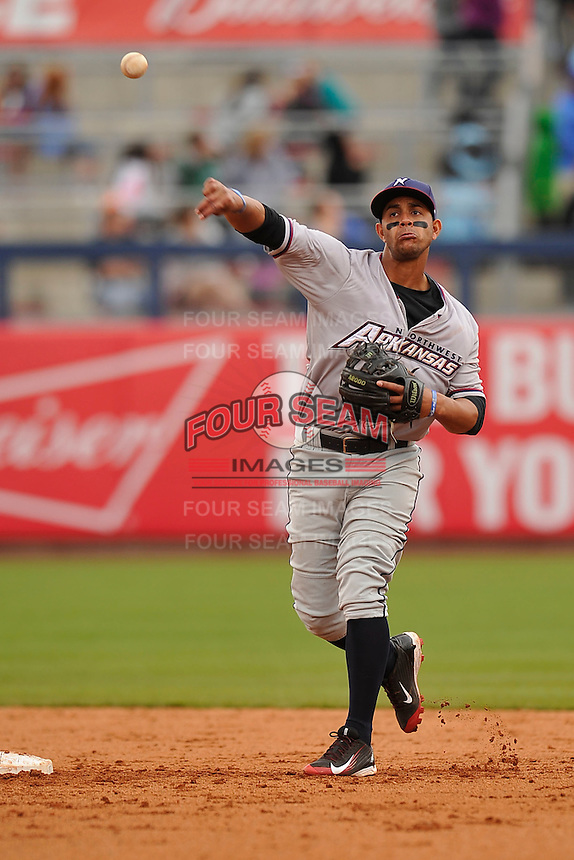 Northwest Arkansas Naturals second baseman Ramon Torres (2) throws to first base during the game against the Tulsa Drillers at Oneok Fiield on May 2, 2016 in Tulsa, Oklahoma.  Northwest Arkansas won 9-6.  (Dennis Hubbard/Four Seam Images)