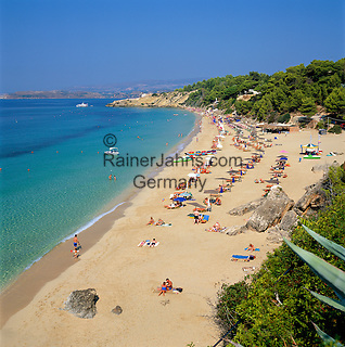 Greece, Cephalonia (Ionian island), Argostoli, district Lassi: Beach | Griechenland, Kefalonia (Ionische Insel), Argostoli, Ortsteil Lassi: Strand