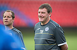 Spartak Trnava v St Johnstone...06.08.14  Europa League Qualifier 3rd Round<br /> Tommy Wright all smiles during training in the FC Vion Stadium<br /> Picture by Graeme Hart.<br /> Copyright Perthshire Picture Agency<br /> Tel: 01738 623350  Mobile: 07990 594431