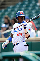 Chattanooga Lookouts outfielder Yasiel Puig #66 on deck during a game against the Birmingham Barons on April 17, 2013 at AT&T Field in Chattanooga, Tennessee.  Chattanooga defeated Birmingham 5-4.  (Mike Janes/Four Seam Images)