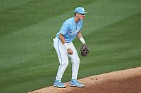 North Carolina Tar Heels shortstop Danny Serretti (1) on defense against the South Carolina Gamecocks at Truist Field on April 6, 2021 in Charlotte, North Carolina. (Brian Westerholt/Four Seam Images)