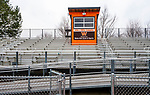 WATERTOWN, CT-011321JS03- The press box at the John Mills Complex at Watertown High School. The mascot committee is recommending the Watertown Board of Education replace the Indian mascot with Warrior. <br /> Jim Shannon Republican-American