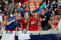 HOUSTON, TX - JUNE 13: USA supporters before a game between Jamaica and USWNT at BBVA Stadium on June 13, 2021 in Houston, Texas.