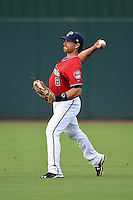 Fort Myers Miracle outfielder Jason Kanzler (8) warms up before a game against the Tampa Yankees on April 15, 2015 at Hammond Stadium in Fort Myers, Florida.  Tampa defeated Fort Myers 3-1 in eleven innings.  (Mike Janes/Four Seam Images)