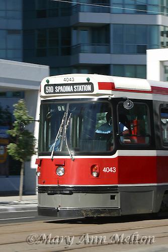 A vertical shot of a Toronto Streetcar