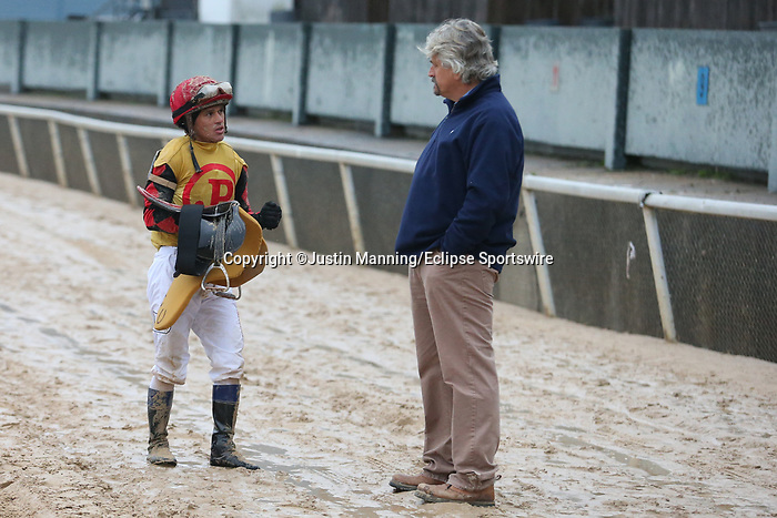 March 14, 2020: Jockey Javier Castellano talking with trainer Steve Asmussen after the running of the Rebel Stakes at Oaklawn Racing Casino Resort in Hot Springs, Arkansas on March 14, 2020. Justin Manning/Eclipse Sportswire/CSM