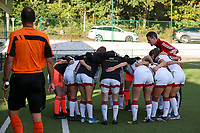 OHL is pictured in the huddle before  a female soccer game between Oud Heverlee Leuven and Eendracht Aalst Ladies  on the third matchday of the 2020 - 2021 season of Belgian Womens Super League , Sunday 4 th of October 2020  in Heverlee , Belgium . PHOTO SPORTPIX.BE | SPP | SEVIL OKTEM